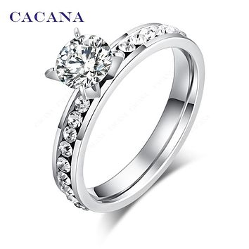 CACANA  Stainless Steel Rings For Women Circle CZ Personalized Custom Fashion Jewelry