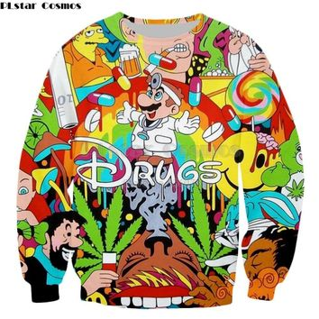 PLstar Cosmos Drop shipping Drugs&weed Men Women Sweatshirt Couples Sweats Unisex Sweatshirt Red Wine 3D print cartoon hoodies