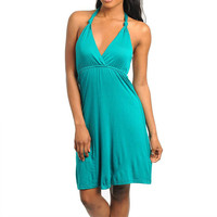 Summer Halter Midi Dress in Teal