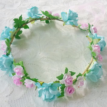 Pink blue rose flower crown flower crown /Rose  headband /flower crown /floral headpiece/ flower crown ribbon tie back