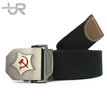 New Men Belt Thicken Canvas Communist Military Belt Army Tactical Belt High Quality Strap 110 130 cm 10 Colors