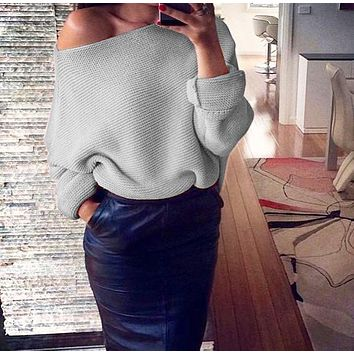 Winter New Women's Fashion Sexy Off-Shoulder Solid Color Long Sleeve Sweater 6#