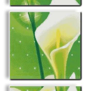 Common Calla Flowers Canvas DMC Cross Stitch Kits 100% Accurate 11CT Printed Embroidery DIY Handmade Needle work Wall Home Decor
