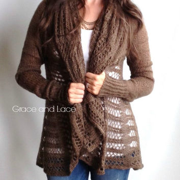 PRE ORDER Oversized Knit Cardi  brown knit by GraceandLaceCo
