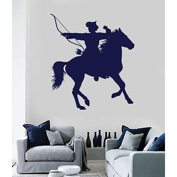 Vinyl Decal Wall Sticker Mongolian Rider Bow Arrows Warrior for Room Decor (n561)