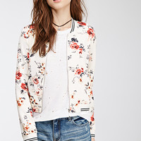Blurred Floral Bomber Jacket