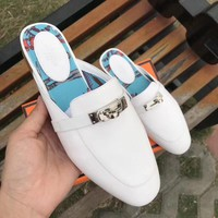 GUCCI Women Trending Fashion Embroidery printing Casual Shoes Sandal Slipper Heels White