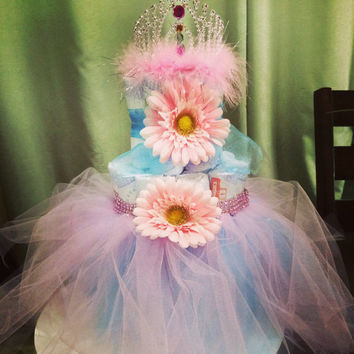 Tiered diaper cake tuttu, dress, princess, gift basket, centerpiece, table decoration, baby shower