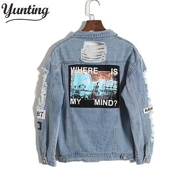 Women Denim Jacket with Patchwork and Distressed Detailing