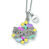 Sterling Silver Hello Kitty Crystal/Gold-tone/Enamel Pisces Necklace