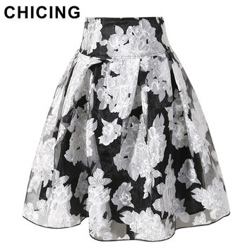 CHICING 2016 Summer Women Skirts Transparent Organza Mesh Big Swing Pleated Midi Skirts Black Beige Plus Size XL Saias B09991