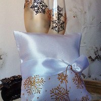 Hand painted Satin ring bearer pillow Gold Snowflake theme Winter wedding personalized wedding favor