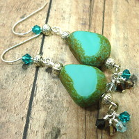Czech Turquoise Nugget Swarovski Crystal BOHO Sterling Dangle Earrings
