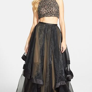 Women's Terani Couture Beaded Top & Organza Two-Piece Ballgown
