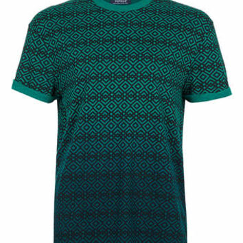 GREEN PATTERN DIP DYE T-SHIRT - Men's T-shirts & Tanks - Clothing