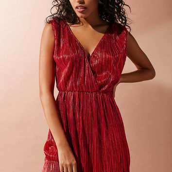 Oh My Love Shimmer Pleated Fit + Flare Dress | Urban Outfitters