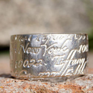 1997 Tiffany & Co. Address Silver Band Ring