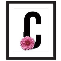 Floral Art Print - Big Letter C - Typography Poster Chrysanthemum Flower Botanical Art Pink Flower - Modern Wall Decor Font Typeface