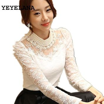 YEYELANA Women Blouses New 2018 Spring Casual Lace Blouse Elegant White Peter Pan Collar Long Sleeve Shirt blusas feminina A014