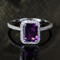 6x8mm Emerald Cut Amethyst 14k White Gold Pave .29ct Diamonds Halo Engagement Ring