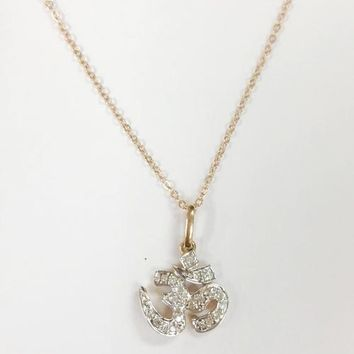 14k Rose Gold Diamond Om Necklace