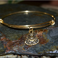 Frog Prince Expandable Bangle bracelet , Royal Bangle, Brass, Metal stacked bangle, Fairy Tale jewelry, stacking bangle, adjustable bangle
