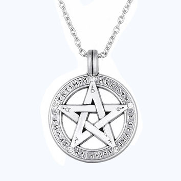 Pewter Silver Plated Pentagram Pendant with Viking Runes Pagan Wiccan Pentacle Chain Necklace Sacred Geometry Vintage Jewelry