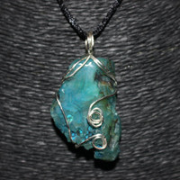 Silver Wire Wrapped Blue Agate Stone Pendant Necklace