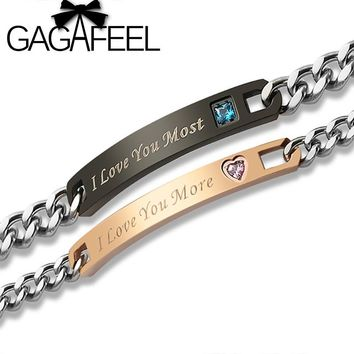 GAGAFEEL Customized Engraved I Love You More Bracelets For Couples Women Men Personalized Lover Bracelets Bangle Drop Shipping