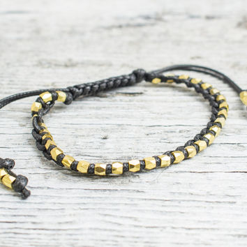 Gold beaded macrame bracelet, mens bracelet, womens bracelet