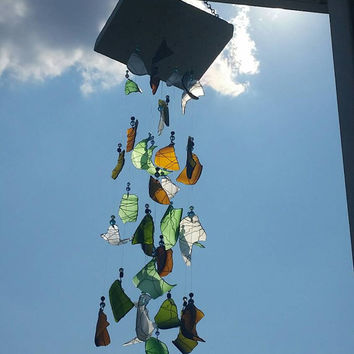 Walking in the Woods - Wind Chime, Green Sea Glass, White Glass, Recycled, Rain Chime, Reclaimed Glass