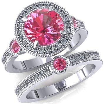 Brachium Round Pink Sapphire Bezel Milgrain Halo 3/4 Eternity Accent Diamond Ring