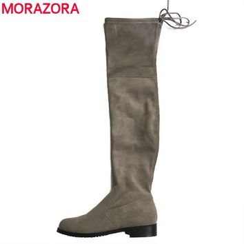 MORAZORA Plus size 34-43 2017 New Women Stretch Faux Suede Over the Knee Boots Flat Th