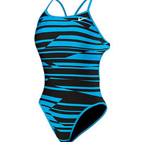 Nike Swim Shadow Stripe Reversible Cut Out Tank at SwimOutlet.com - Free Shipping