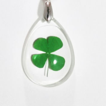 Real Four Leaf Clover Necklace Four Leaf Clover Pendant Nature Jewelry 4 Leaf Clover Pressed Flower Real Clover Necklace Resin Jewelry