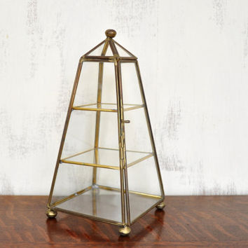 Vintage Glass and Brass Box, Small Vitrine, Pyramid Curio Cabinet, Glass Display Case
