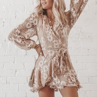 You're The One That I Want Taupe Lace Wrap Dress