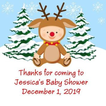 Christmas Baby Shower Favor Tags Reindeer