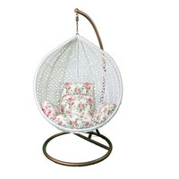 Pre-owned Hanging White Rattan Chair Floral Cushions