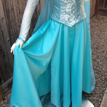 Elsa Frozen Light Aqua Glitterized Snow Queen Version H Adult Costume Custom Made