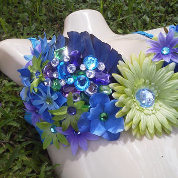 Purple, Green, and Blue Custom Bra Feather, Flowers, and Butterflies