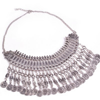 """Hippie Boho Necklace """"Ethnic Chic long"""" Oriental silver coin"""