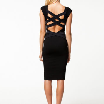 Cutout Back Sleeveless Bodycon Midi Dress