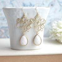 Gold Filigree Chandelier Lace, White Pear Jade Dangle Earrings, Bridesmaid Gift, White and Gold Wedding. Bridal Earrings. Friends, Birthday