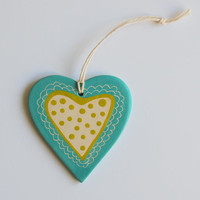 Ceramic decorative heart, wall hanging, sgrafitto decoration, blue and green heart, kids room decor heart