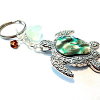 Sea Turtle Keychain, Inlaid Abalone Shell Turtle Pendant Key Ring, Beach Inspired Car Accessory, Turtle Gifts