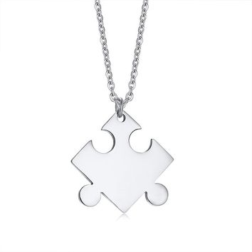 Engrave Promise Love Name Info Puzzle Necklace for Women Personalized Stainless Steel Geometric Jigsaw Pendant Female Jewelry