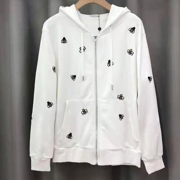 Dior Newest Popular Bee Embroidery Hooded Zipper Cardigan Sweatshirt Jacket Coat Sportswear White
