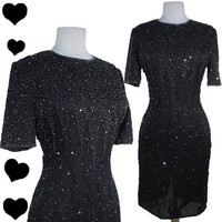 Vintage 80s BEADED Sequin Sparkle Cocktail Party Dress M Silk Glam Short Sleeves