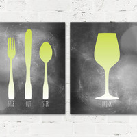 Fork Knife Spoon Wine & Cutlery Dining Room Wall Art Prints SET - 8x10 Dining Room / Kitchen Posters - Lime Green and Gray Shown